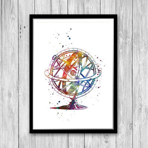 Astronomy Art Armillary Sphere Watercolor Print Science art - PrintsFinds