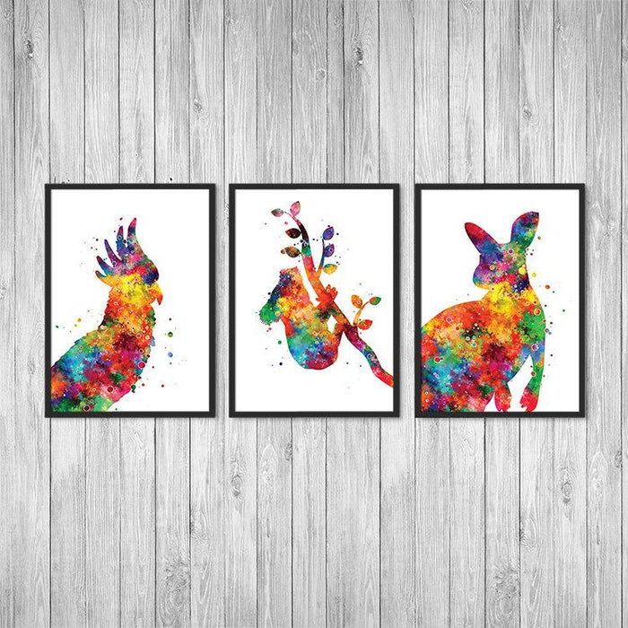 Australian Animals Art for Nursery Decor Set of 3 Watercolor Prints
