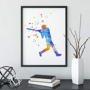Baseball Boys Room Decor Baseball Player Watercolor Print - PrintsFinds