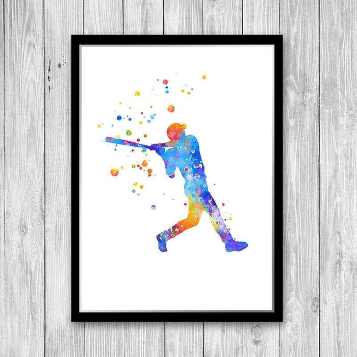 Baseball Boys Room Decor Baseball Player Watercolor Print