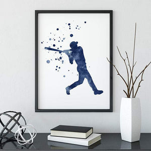 Baseball Decor For Boys Room, Blue Watercolor print - PrintsFinds