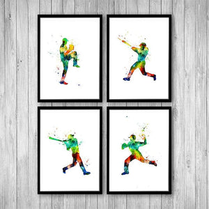 Baseball decor for boys room, Set of 4 Watercolor Prints - PrintsFinds