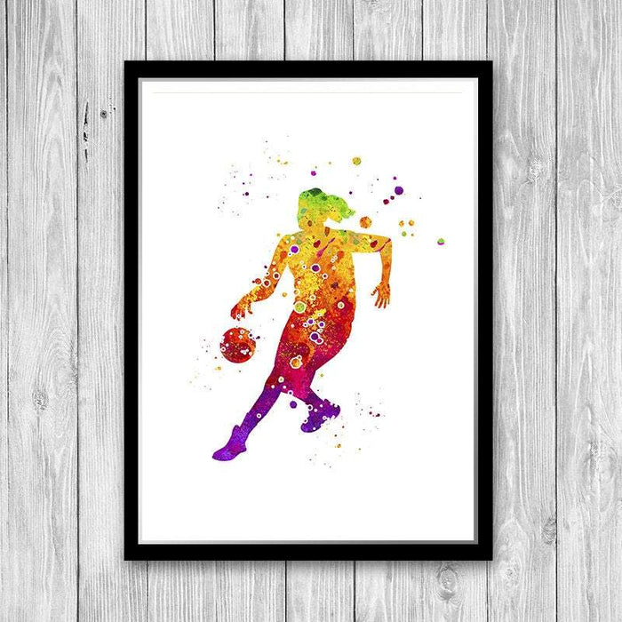 Basketball art, Girl player print