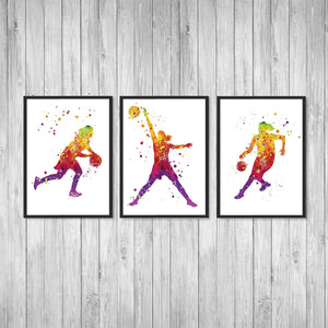 Basketball Art set of 3 Watercolor Art Prints - PrintsFinds