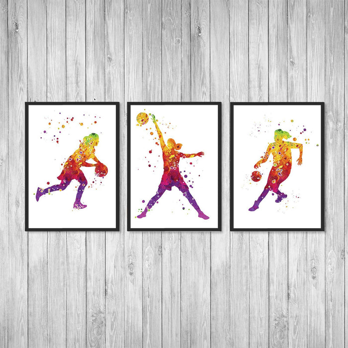 Basketball Art set of 3 Watercolor Art Prints