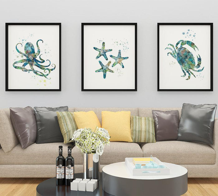 Beach House Decor Nautical Wall Art Set of 3 Prints
