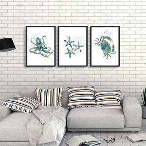 Beach House Decor Nautical Wall Art Set of 3 Prints - PrintsFinds