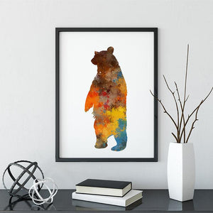 Bear Print Watercolor Animal Wall Art for Kids Room, Nursery Decor - PrintsFinds
