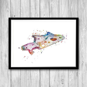 Biology Art Amoeba Watercolor Print Science Decor - PrintsFinds