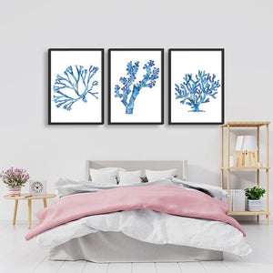 Blue Coral Set of 3 Watercolor Sea Coral Prints - PrintsFinds