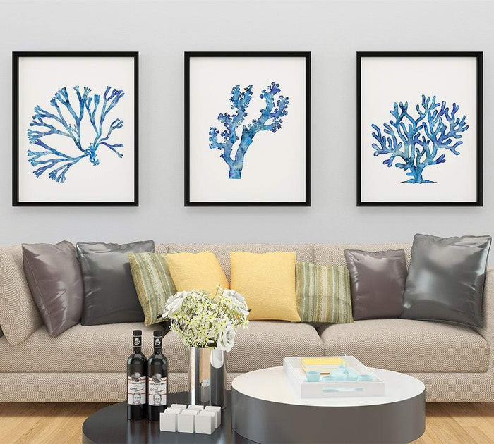 Blue Coral Set of 3 Watercolor Sea Coral Prints