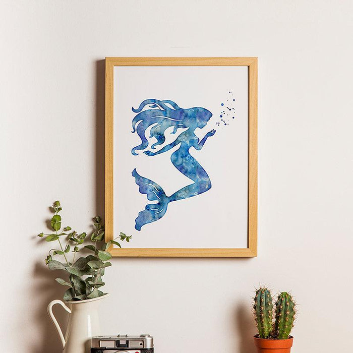 Blue Mermaid Wall Art for Girls Room Decor