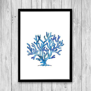 Blue Watercolor Coral Art Print - PrintsFinds
