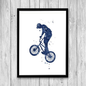 Blue watercolor set of 3 prints BMX Rider for Boys room decor - PrintsFinds