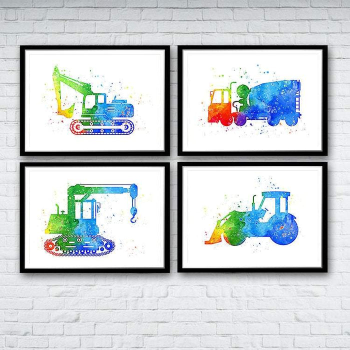 Boys Nursery Wall Art Construction Trucks Set of 4 Watercolor Prints