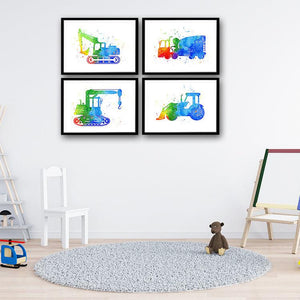 Boys Nursery Wall Art Construction Trucks Set of 4 Watercolor Prints - PrintsFinds
