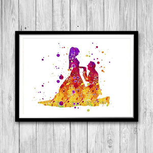 Bride and Groom Illustration Watercolor Print - PrintsFinds