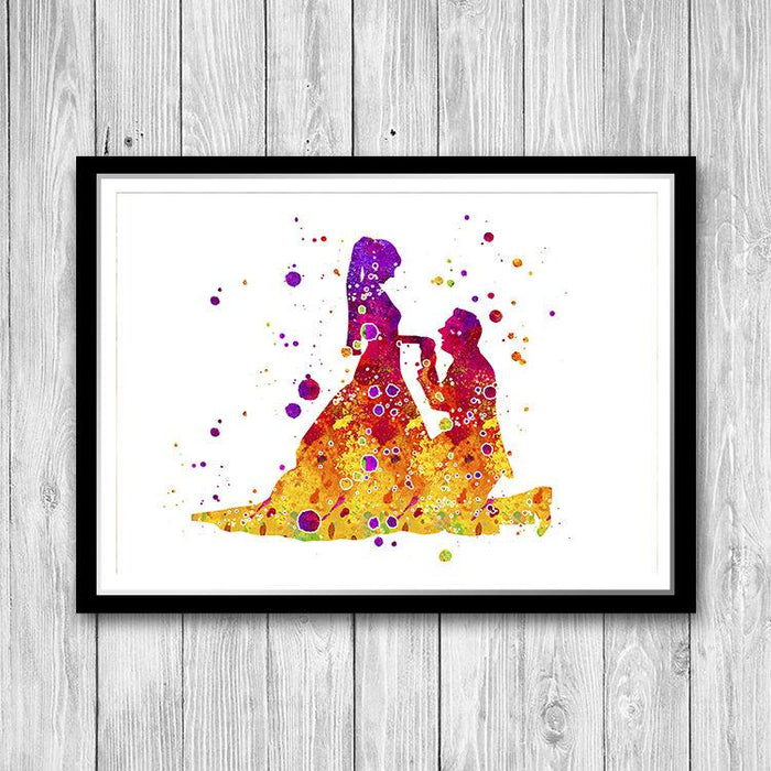 Bride and Groom Illustration Watercolor Print