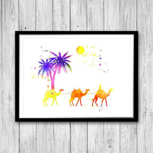 Camel print Desert camel art print Watercolor decor Camel caravan - PrintsFinds