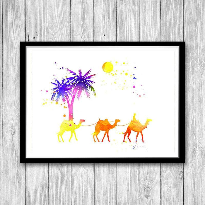 Camel print Desert camel art print Watercolor decor Camel caravan