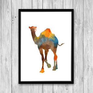 Camel Watercolor Art Print - PrintsFinds