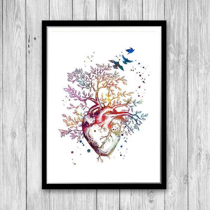 Cardiology Art Heart Tree Watercolor Print Gift idea for Cardiologist
