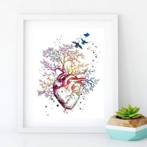Cardiology Art Heart Tree Watercolor Print Gift idea for Cardiologist - PrintsFinds