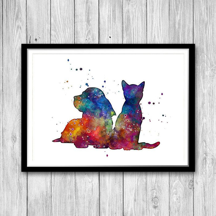 Cat and Dog Watercolor Print