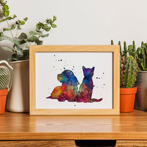Cat and Dog Watercolor Print - PrintsFinds
