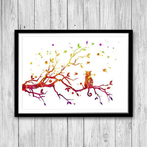 Cat On Tree watercolor print - PrintsFinds