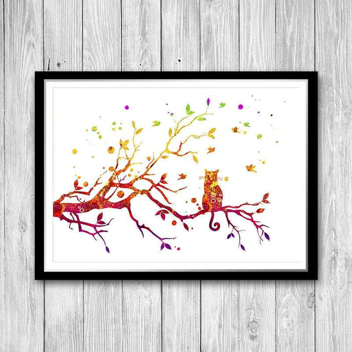 Cat On Tree watercolor print
