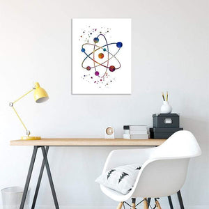 Chemistry Art Atom Watercolor Print Science Wall Art Laboratory Decor - PrintsFinds