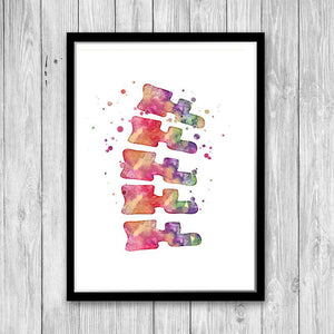 Chiropractor Gift Vertebrae Spine Watercolor Print - PrintsFinds