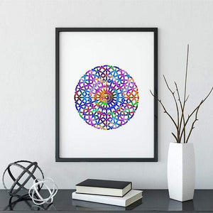 Circle Mandala Watercolor Print - PrintsFinds