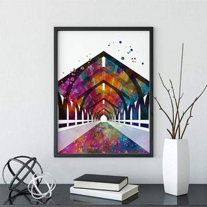 City Tunnel Watercolor Print Civil Engineer Office Decor - PrintsFinds
