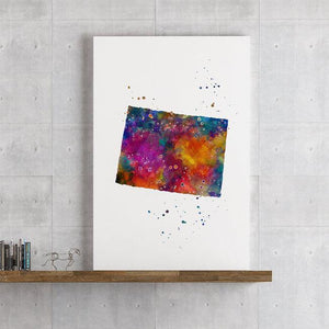 Colorado sate Map Watercolor Print - PrintsFinds