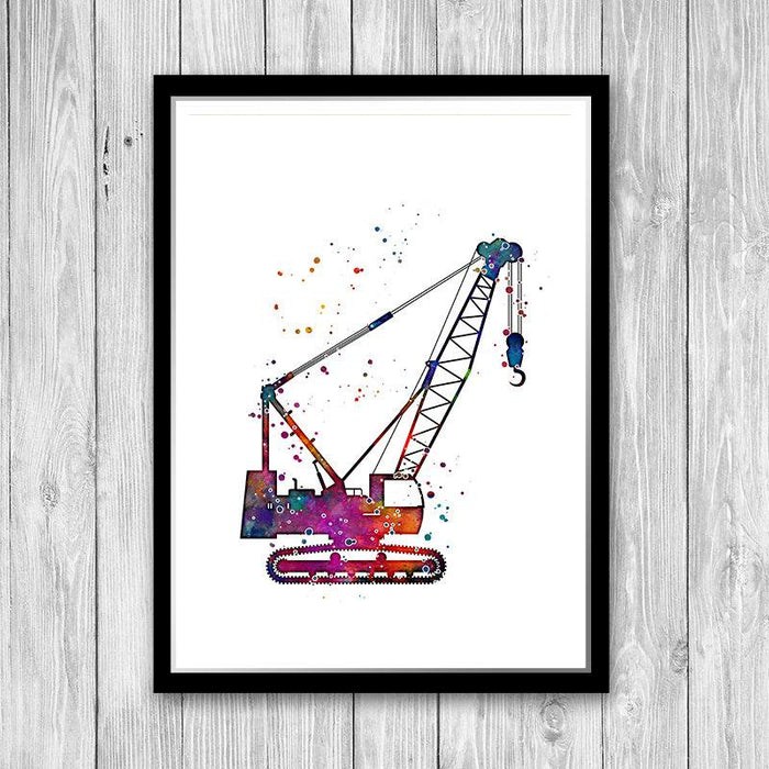 Construction Crawler Crane Watercolor Art Print