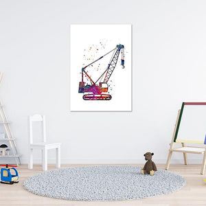 Construction Crawler Crane Watercolor Art Print - PrintsFinds