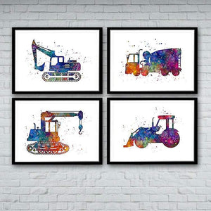 Construction Trucks Set of 4 prints - PrintsFinds