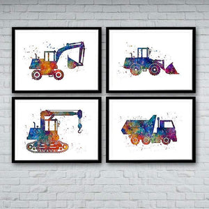 Construction Trucks Set of 4 Watercolor Prints - PrintsFinds