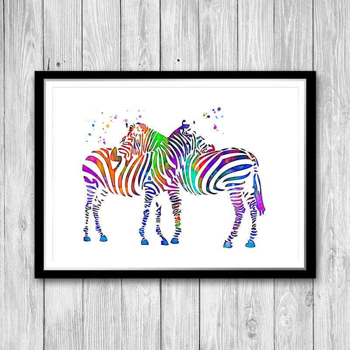 Couple Animals Watercolor Print Home Decor,Two Zebras