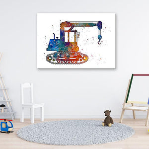 Crawler Crane Watercolor Art Print for kids room - PrintsFinds