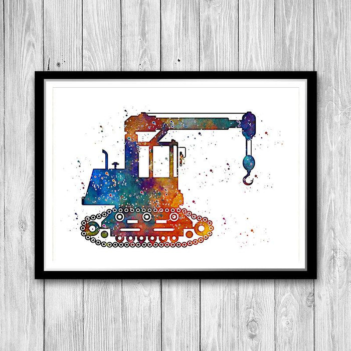 Crawler Crane Watercolor Art Print for kids room