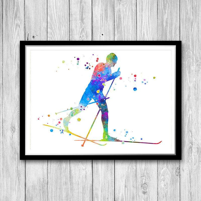 Cross Country Skiing Print Watercolor Winter Sports Poster