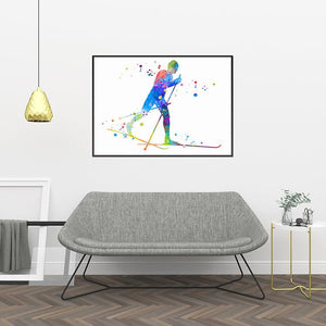 Cross Country Skiing Print Watercolor Winter Sports Poster - PrintsFinds