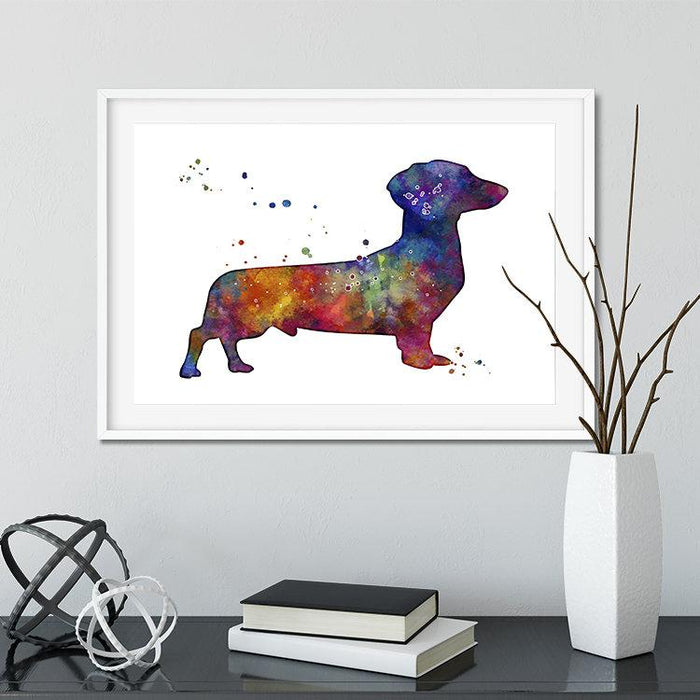 Dachshund Art Watercolor Print for Kids Room Decor Dog Wall Art
