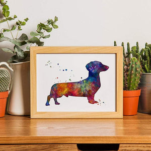 Dachshund Art Watercolor Print for Kids Room Decor Dog Wall Art - PrintsFinds