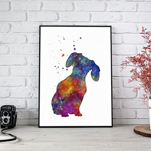 Dachshund Wall Art Watercolor Print Dog Art for Kids Room Decor - PrintsFinds