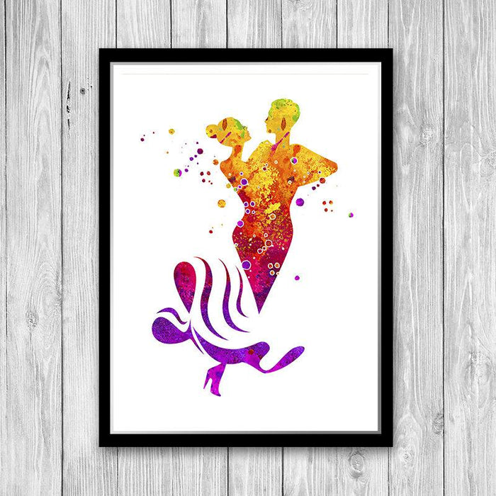 Dancing Couple Watercolor Art Poster Dance Club Wall Decor