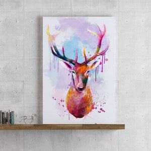 Deer Head Watercolor Painting Print, Animal Art for Kids Room - PrintsFinds